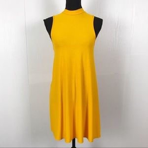TopShop Mustard Yellow Mock Neck Flowy Dress